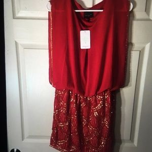 Red & Gold Sequin Party Dress